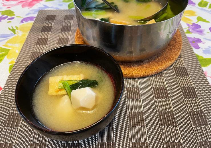 里芋と小松菜の味噌汁