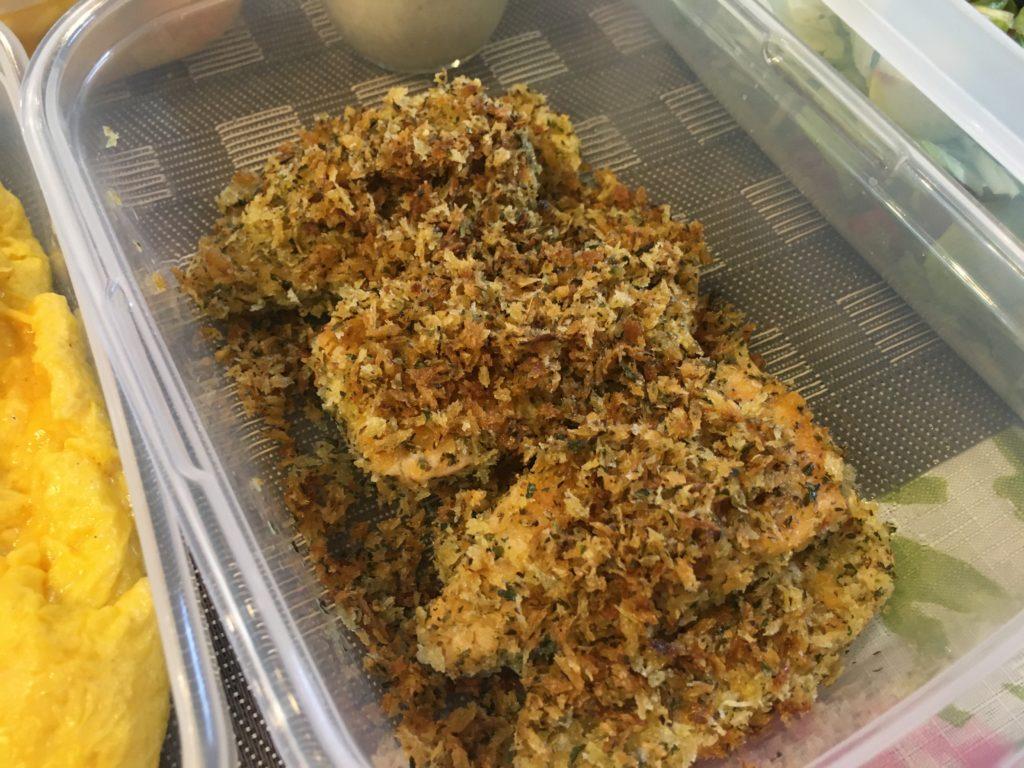 料理教室マンツーマン鮭チーズハーブパン粉焼き