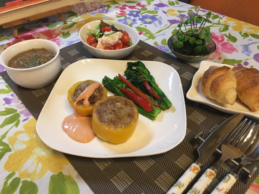 料理教室マンツーマンパプリカ肉詰めセット