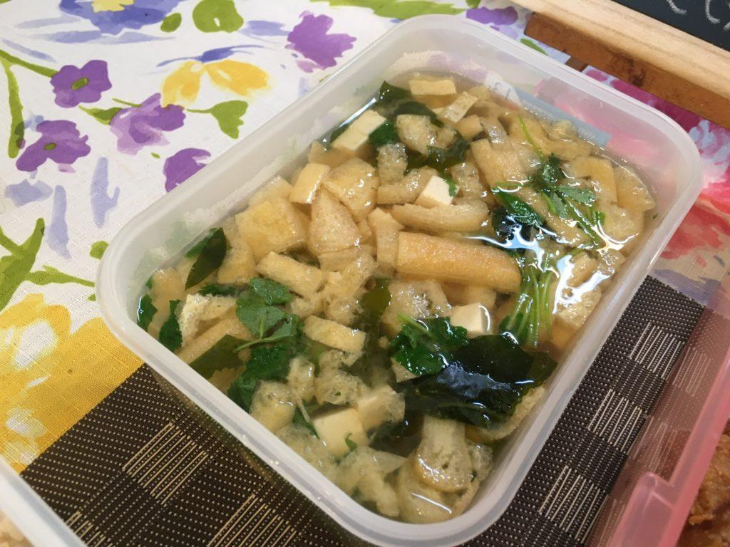料理教室マンツーマン豆腐とわかめの味噌汁