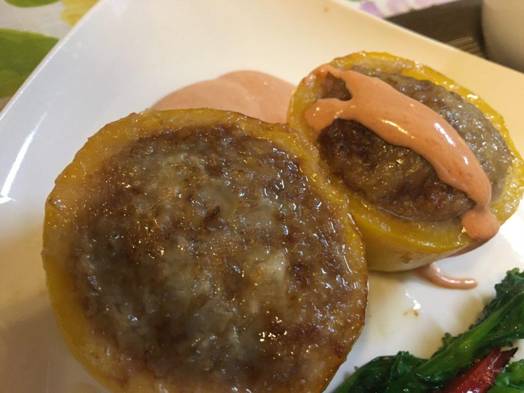 料理教室マンツーマンパプリカ肉詰め