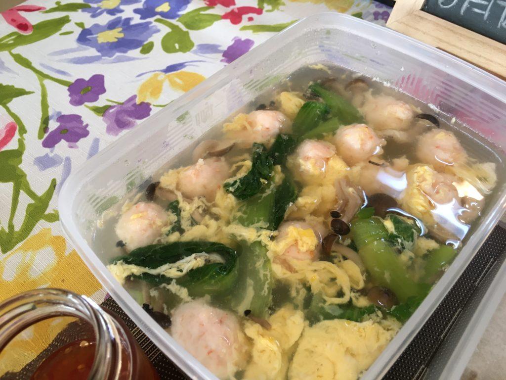 料理教室マンツーマンエビ団子スープ
