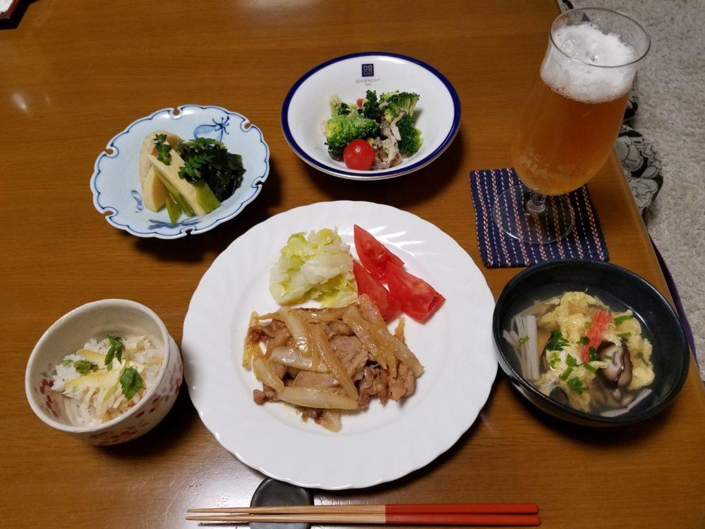 料理教室マンツーマン生姜焼きセット盛り付け