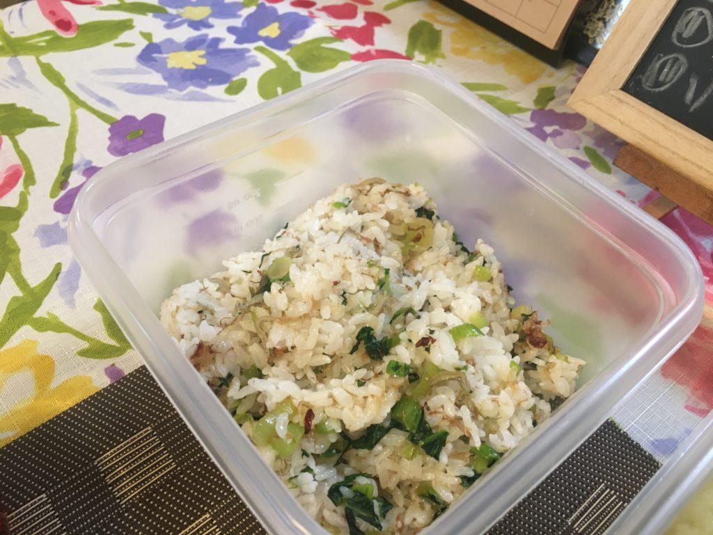 料理教室マンツーマン小松菜ごはん