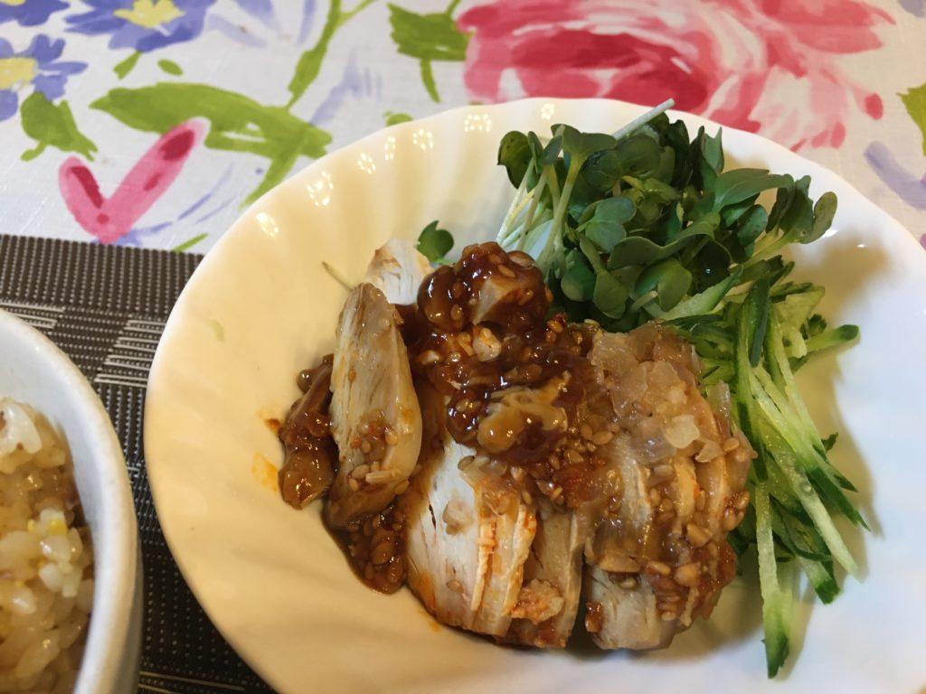 料理教室マンツーマン鶏むね肉香味野菜かけ