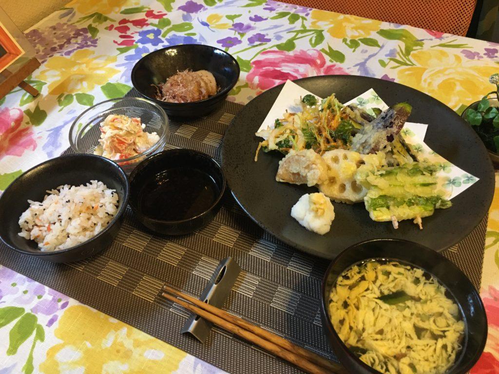 料理教室マンツーマンかき揚げセット