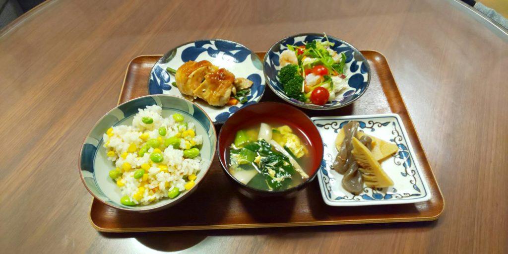料理教室マンツーマン鶏野菜巻きセット盛り付け