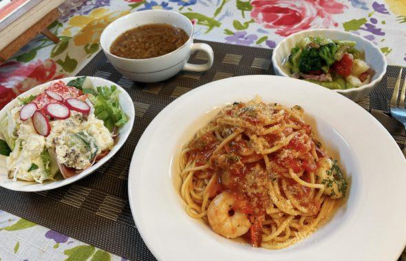 料理教室マンツーマンピリ辛シーフードトマトパスタセット